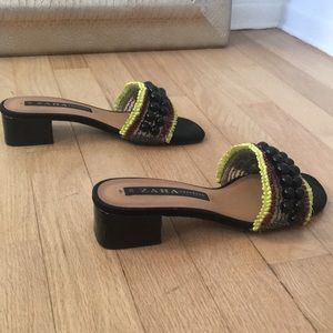 Zara black sandals with bead detailing